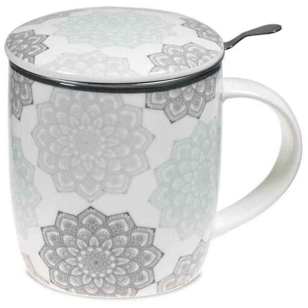 Tisanière Fleur de vie en porcelaine avec filtre