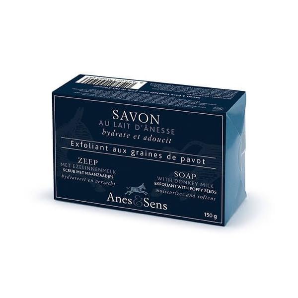 Savon exfoliant à 27% de lait d'ânesse et graines de pavot 150 gr - Anes & Sens