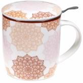 Tisanière Mandala rose en porcelaine avec filtre