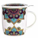 Tisanière Mandala turquoise en porcelaine avec filtre