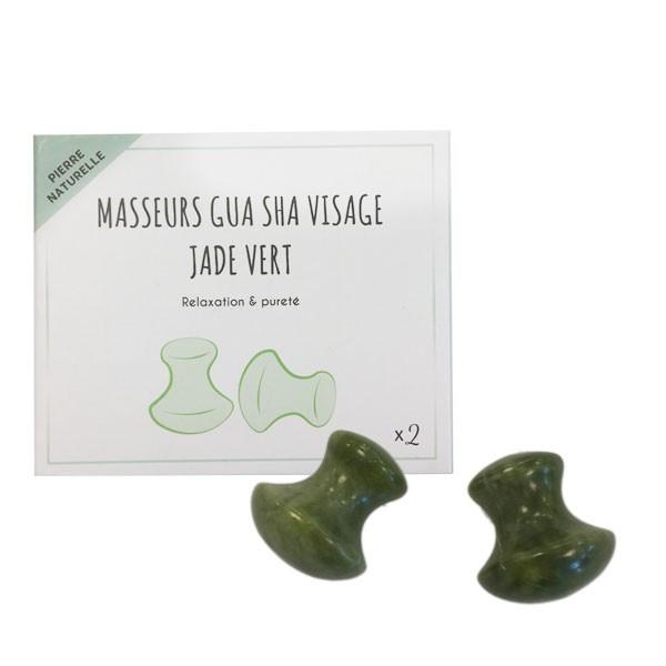 Coffret 2 masseurs visage Gua Sha - Jade vert
