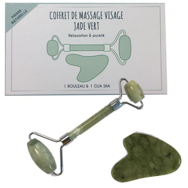 Coffret de massage visage Gua Sha - Jade vert