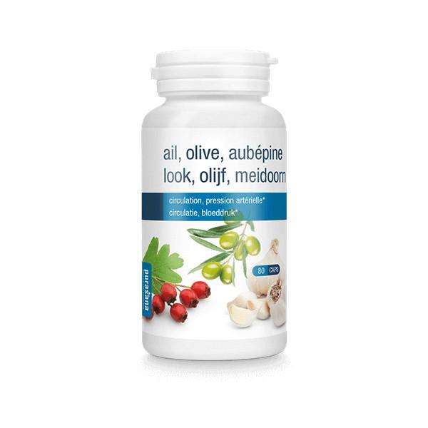 Ail, olivier, aubépine  80 gélules - Purasana