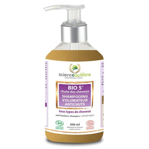 Bio 5 Chute de cheveux - Shampooing - soin volumateur anti-chute Bio 300 ml  - Science & E