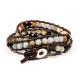 Bracelet en perles d'Amazonite et Agate noire - 6 mm - Lithothérapie