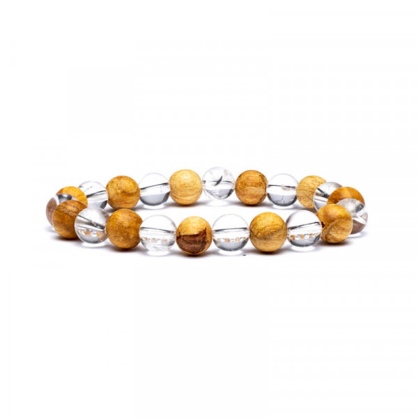 Bracelet Cristal de Roche et Palo Santo - 8 mm - Lithothérapie