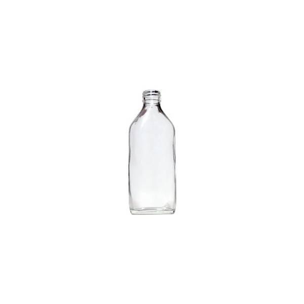 Flacon en verre blanc type sirop 200 ml bouchon noir