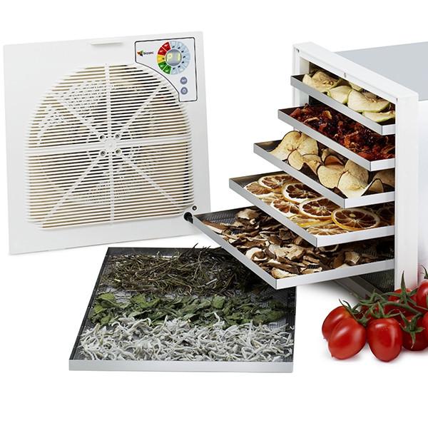 Déshydrateur séchoir (2,5 à 3,5kg) à fruits et plantes médicinales ou arômatiques - 6 plateaux - Finition Deluxe Inox