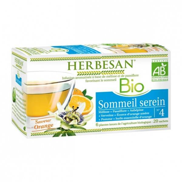 Herbesan Infusion Sommeil serein Bio 20 sachets infusettes - Herbesan