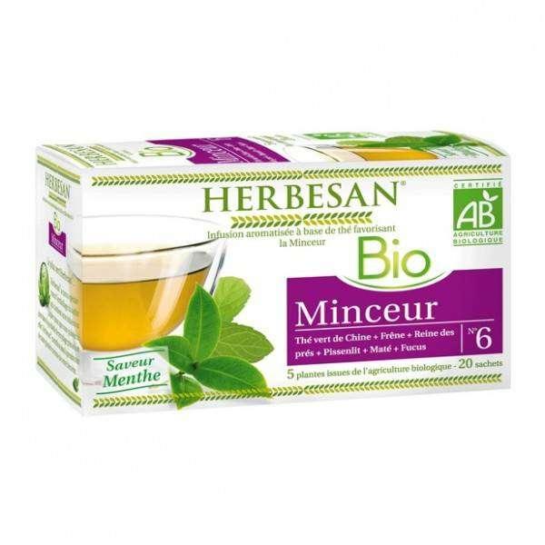 Herbesan Infusion Thé vert Minceur Bio 20 sachets infusettes - Herbesan
