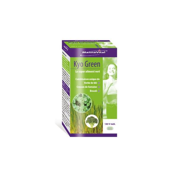 Kyo Green (Herbe de Blé, concentré de graines de broccoli et cresson) 180 comprimés - Mannavital