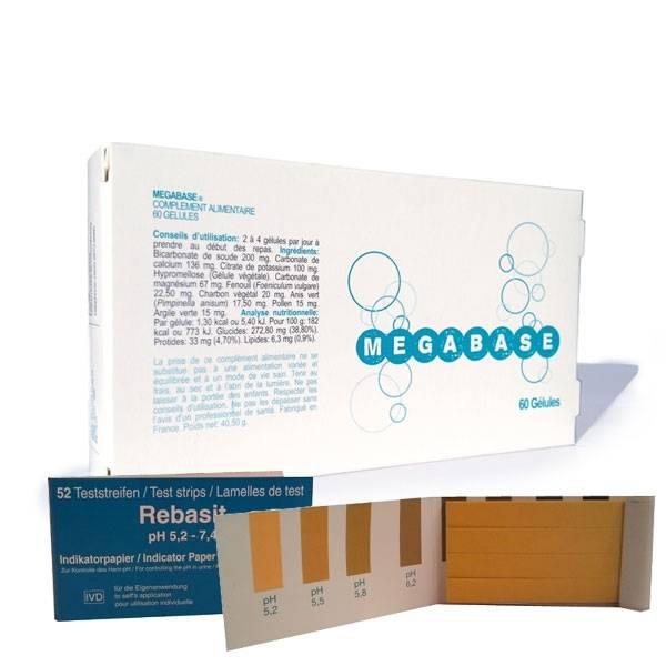 """Megabase 60 gélules + 52 Tests urinaires """"Rebasit"""""""