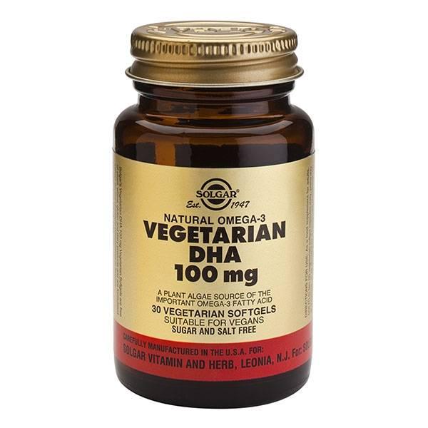 DHA Végétale 100 mg 30 Softgels végétales - Solgar
