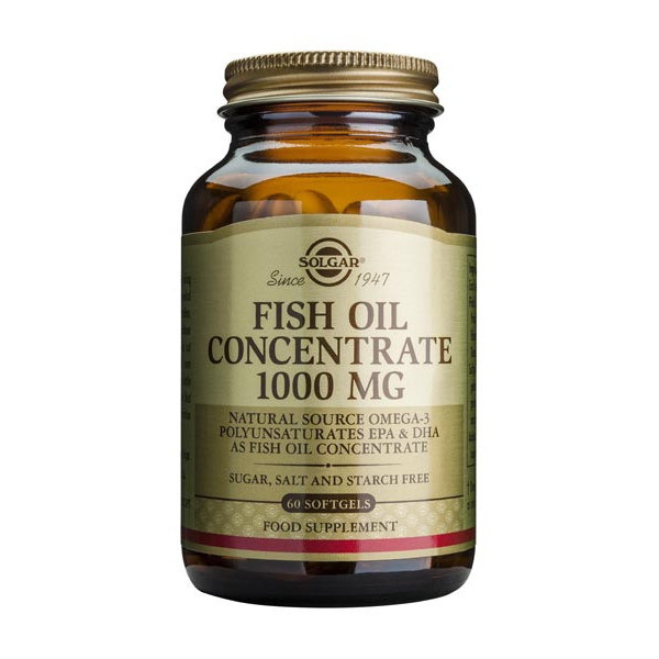 Fish oil concentrate 1000mg 60 softgels solgar for Fish oil for depression and anxiety
