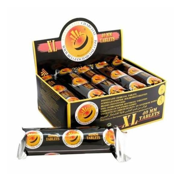 Charbons à brûler XL 40 mm en rouleau de 5 braises - Boîte de 20 rouleaux