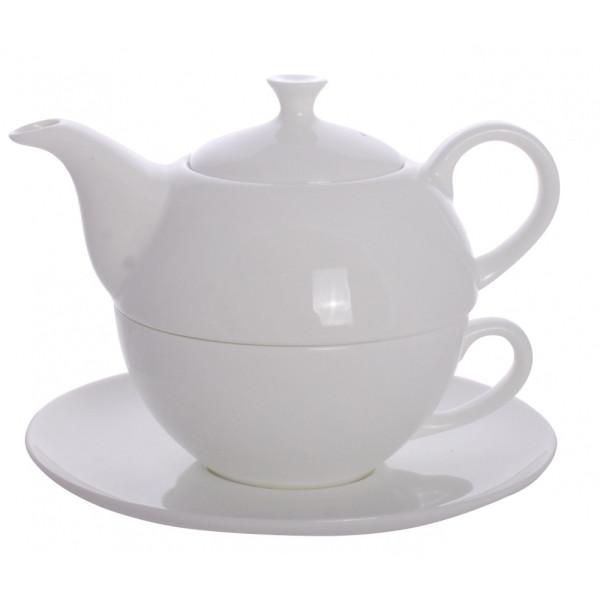 Tisanière en porcelaine 0.6 L avec tasse 0.3 litre avec filtre 3 en 1 Blanc - Herboristerie du Valmont
