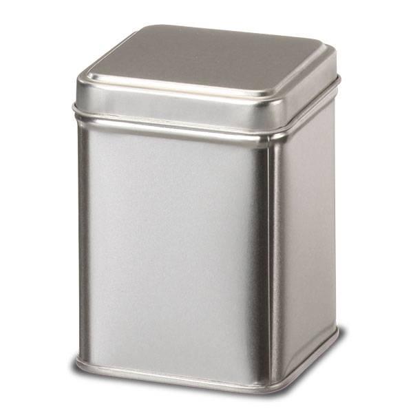 Boite à Thé et à Tisane en métal argenté aspect brossé - 50 g