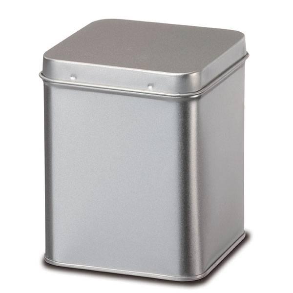 Boite à Thé et à Tisane en métal argenté aspect brossé - 250 g