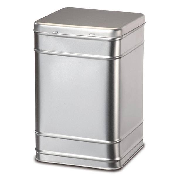 Boite à Thé et à Tisane en métal argenté aspect brossé - 2,5 kg