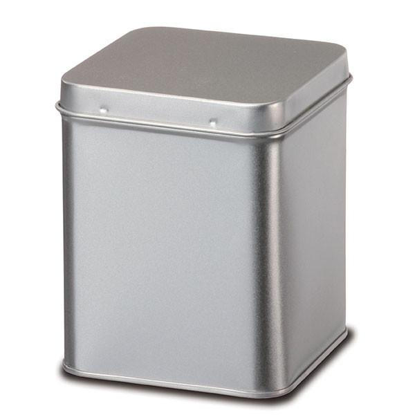 Boite à Thé et à Tisane en métal argenté aspect brossé - 500 g
