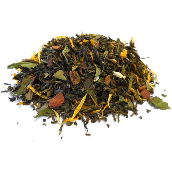 Thé vert de Chine Chun Mee et Sencha Fruit et Herbes - Saveur d'Hiver Bio - 100 gr - Herboristerie du Valmont
