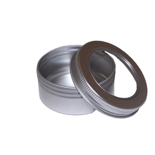 Boite ronde couver plexi transparent et alu brossé  à viser - Petit modèle - Herboristerie du Valmont