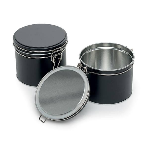 Boite à thé hermétique métallique - Noire - 102/90 mm - Herboristerie du Valmont
