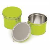 Boite à thé hermétique métallique - Verte - 102/90 mm - Herboristerie du Valmont