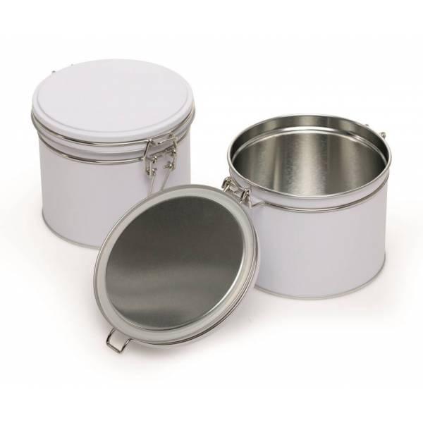 Boite à thé hermétique métallique - Blanche - 102/90 mm - Herboristerie du Valmont