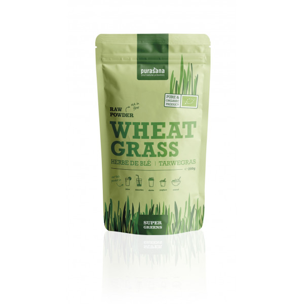 Herbe de blé poudre BIO 200g (Wheat Grass Super Green Raw Powder) - Purasana