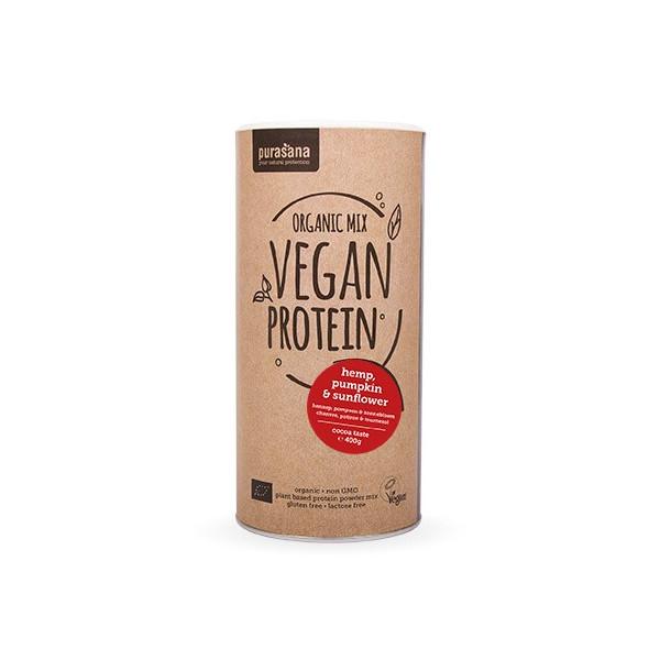 Protéines végétales Bio - Organic Mix 3 - goût cacao 400 gr - Purasana