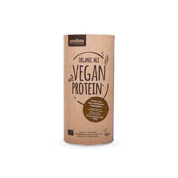 Protéines végétales Bio - Organic Mix 5 - Goût chocolat cacao 400 gr - Purasana